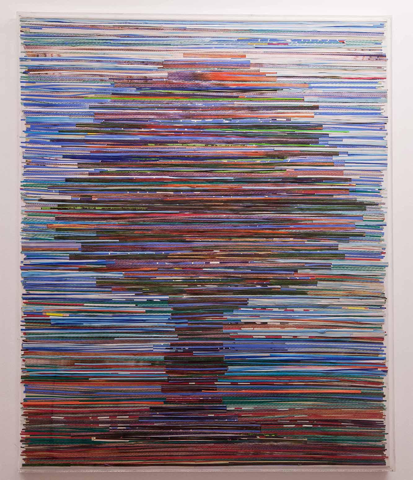 Pavlos, l'Arbre, 1990 Bandes de papiers découpés 100 x 113 x 4 cm