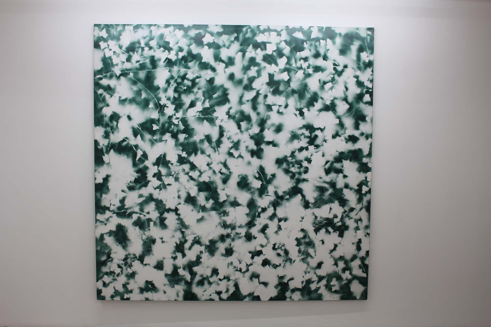 Il y a aussi des feuilles 1998 Bombe aérosol couleur et pochoir 100x81