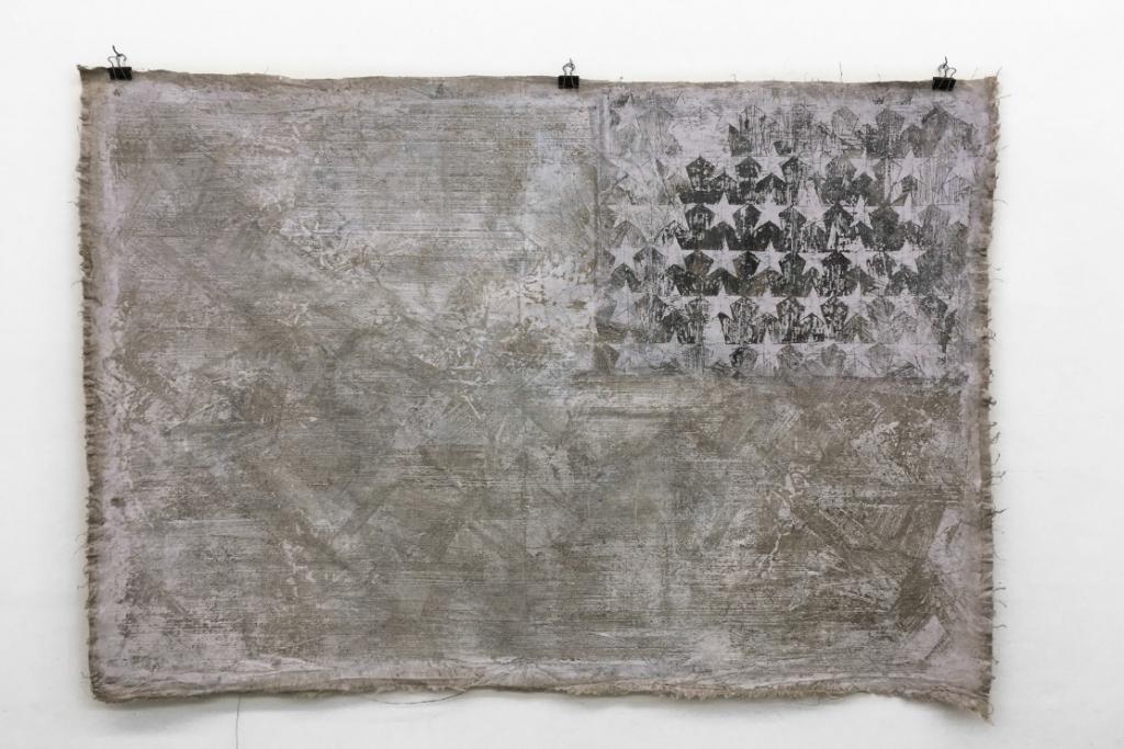 White Flag, 2017, wax, gouache on canvas, 140 x 100 cm