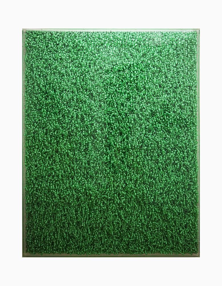 Bolduc vert, 1980 bolduc, Plexiglas box, 177 x 133 x 11 cm Présenté à la Biennale de Venise, 1980