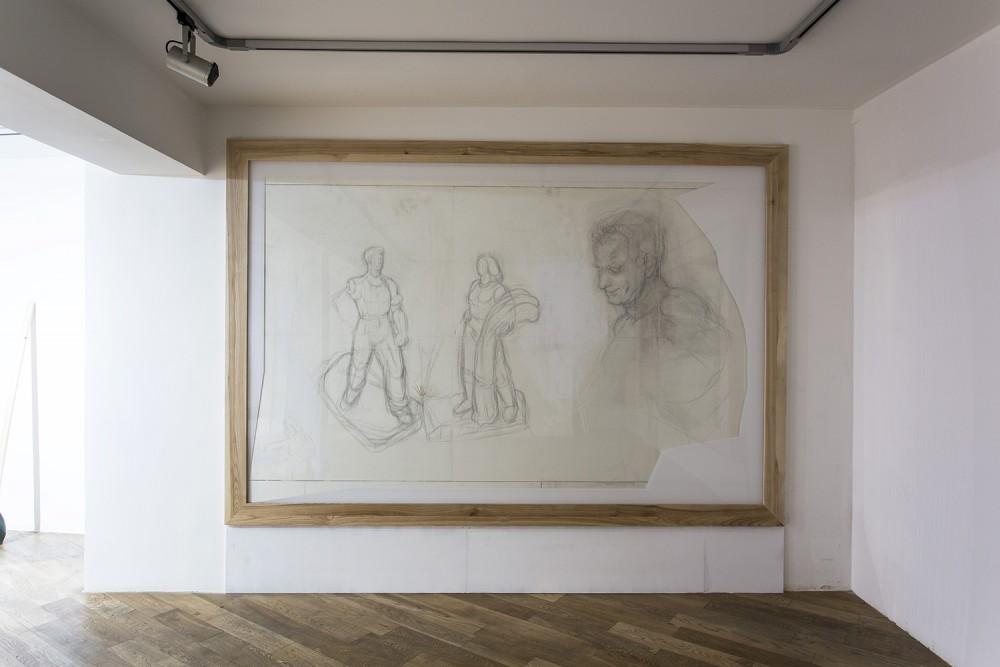 SetP STANIKAS Le bois et le papier, 2015 graphite on paper, 285 x 185 cm