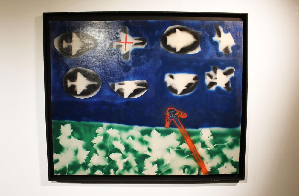 Bombardement 17 bis - Avion sur les vignes 1966 Bombe aérosol couleur et pochoir 100x81