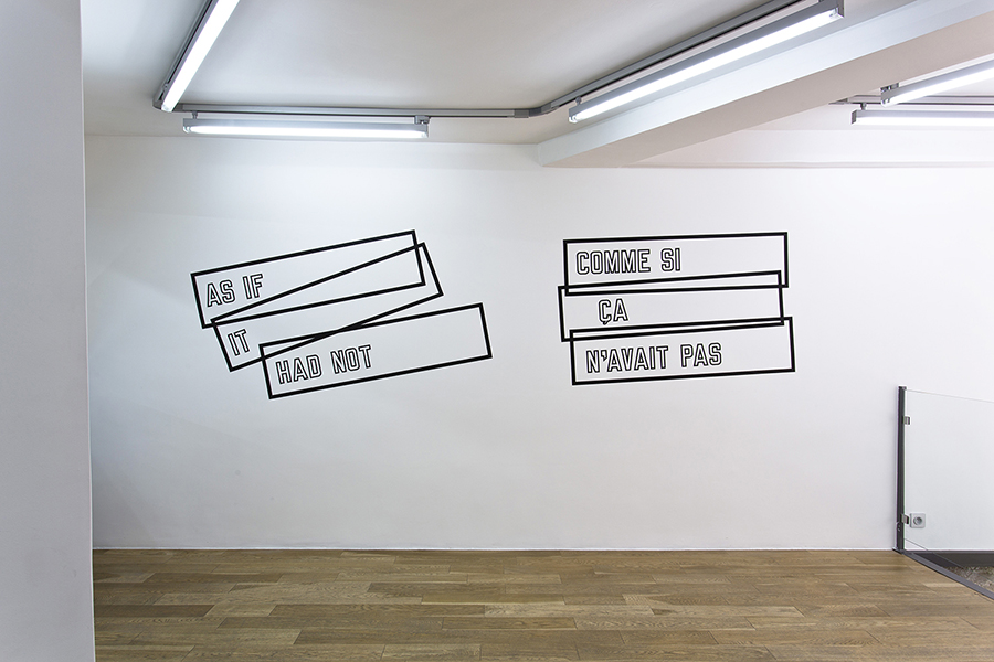 Lawrence Weiner As if it had not, Cat. #274, 1972 black vinyl, variable dimensions, Courtesy of the artist