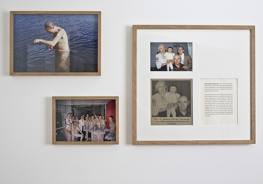 Tatiana Grigorenko Swimming, 2014, archival ink-jet print on Hahnemühle cotton rag paper and collage, 42 x 30 cm, edition of 6 + 1AP / Tatiana Grigorenko Ballet, 2014, archival ink-jet print on Hahnemühle cotton rag paper and collage, 30 x 21 cm, edition of 6 + 1AP / Tatiana Grigorenko Soviet General, 2014, archival ink-jet print on Hahnemühle fine art paper, archival ink-jet print on Awagami paper, text on archival card stock, 50 x 40 cm, edition of 6 + 1AP