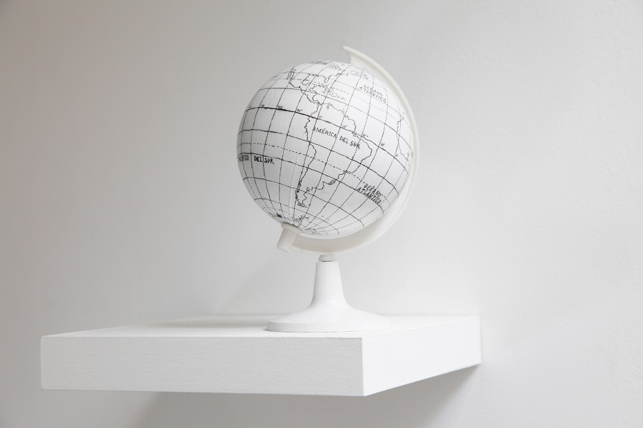 Rodrigo Arteaga Globe, 2014 Graphite on plastic sphere 17,5 x 25,5 cm