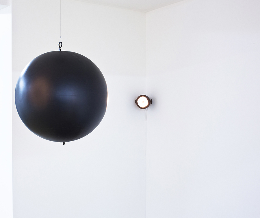 Davide Bertocchi Useless Revolutions, 2009 Mirror ball without mirrors, electric motor, spot lamp, 40 cm diam.