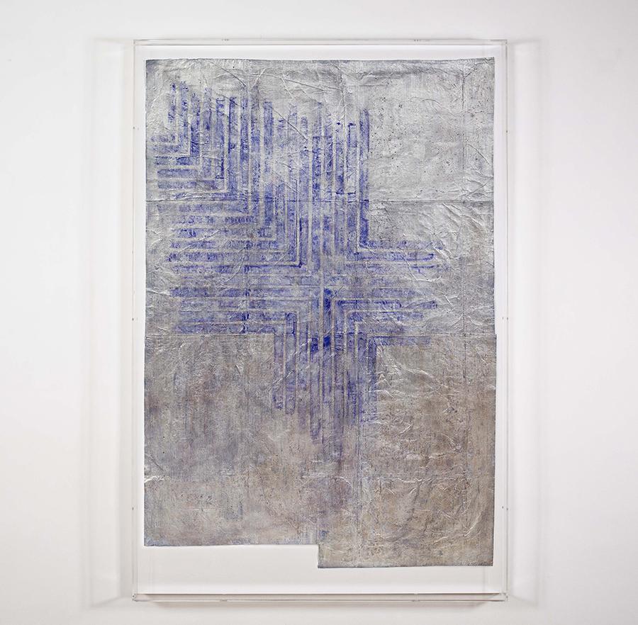 Alexandra Hopf The Stella Files #6, 2015 gouache, oil pastel, acrylic, aluminum powder on paper, 145 x 98 cm