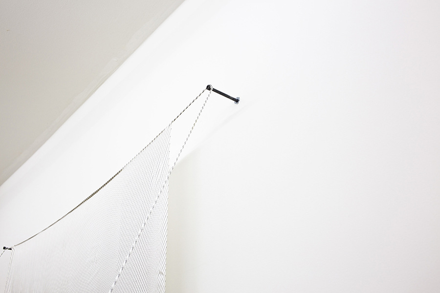 Camila Sposati Unlocking (detail), 2012 Digital print on silk, rope, nail, stones 330,2 x 162,6 x 213,4 cm Series 1/3