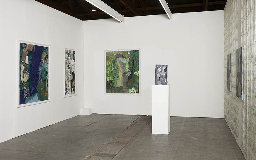 From left to right: Implying an intuitive worldview, 2013, oil, spray, collage, thread on paper, 150 x 122 cm Try to focus on one's own world, 2015, graphite pencil, color spray and watercolor on paper, 150 x 68,5 cm Accommodates to degradation and attrition, 2013, oil, spray, collage, thread on paper, 150 x 122 cm Untitled, 2014, painted