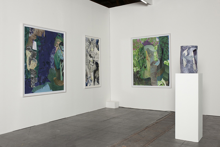 From left to right: Implying an intuitive worldview, 2013, oil, spray, collage, thread on paper, 150 x 122 cm Try to focus on one's own world, 2015, graphite pencil, color spray and watercolor on paper, 150 x 68,5 cm Accommodates to degradation and attrition, 2013, oil, spray, collage, thread on paper, 150 x 122 cm Untitled, 2014, painted terracotta, 50 x 30 x 30