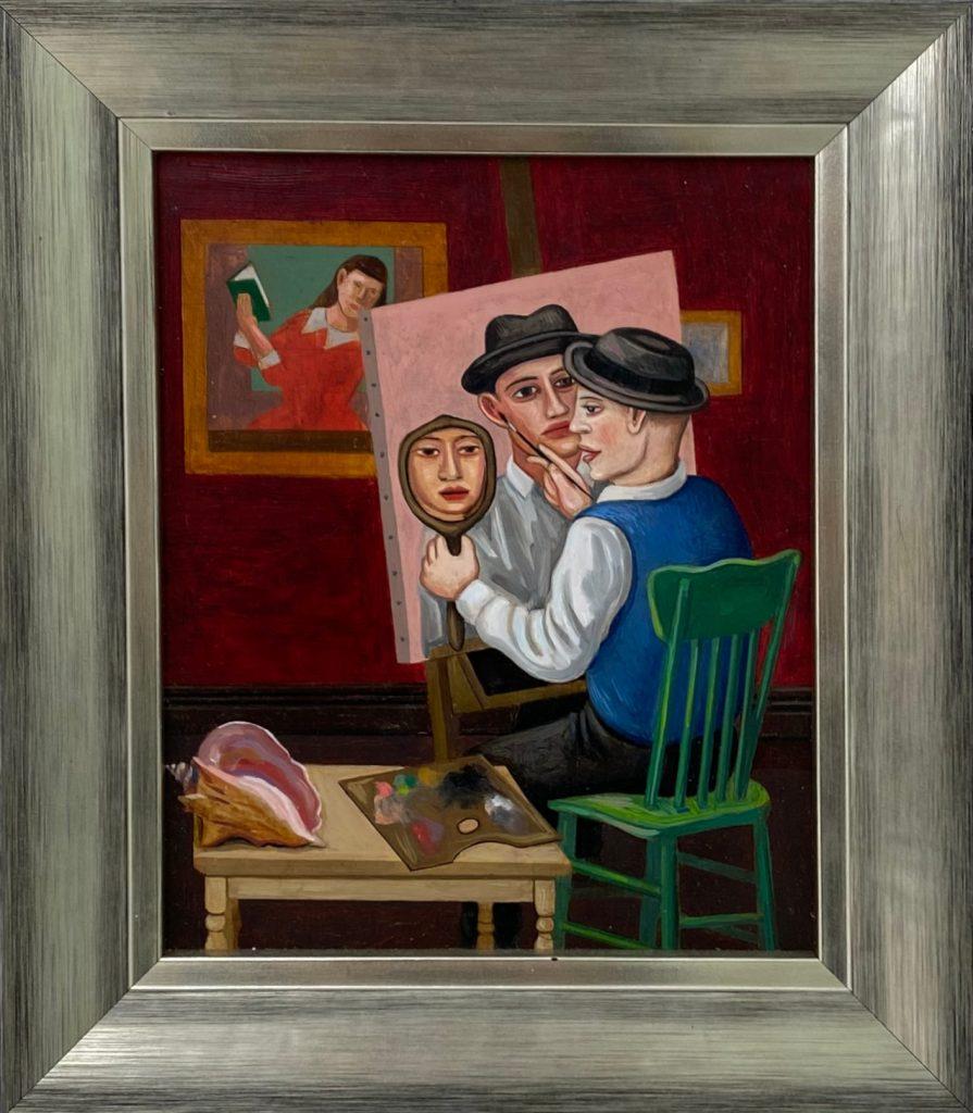 Self Portrait, 2020, oil on wood, 29x33 cm