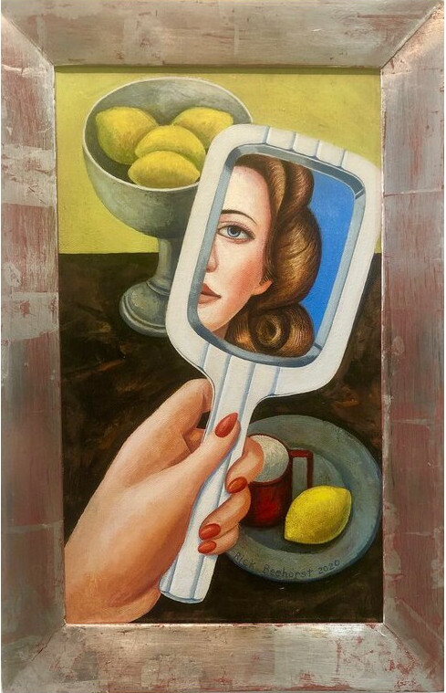 Self Reflexion Left Hand, 2020, oil on canvas with white gold frame, 32x46 cm