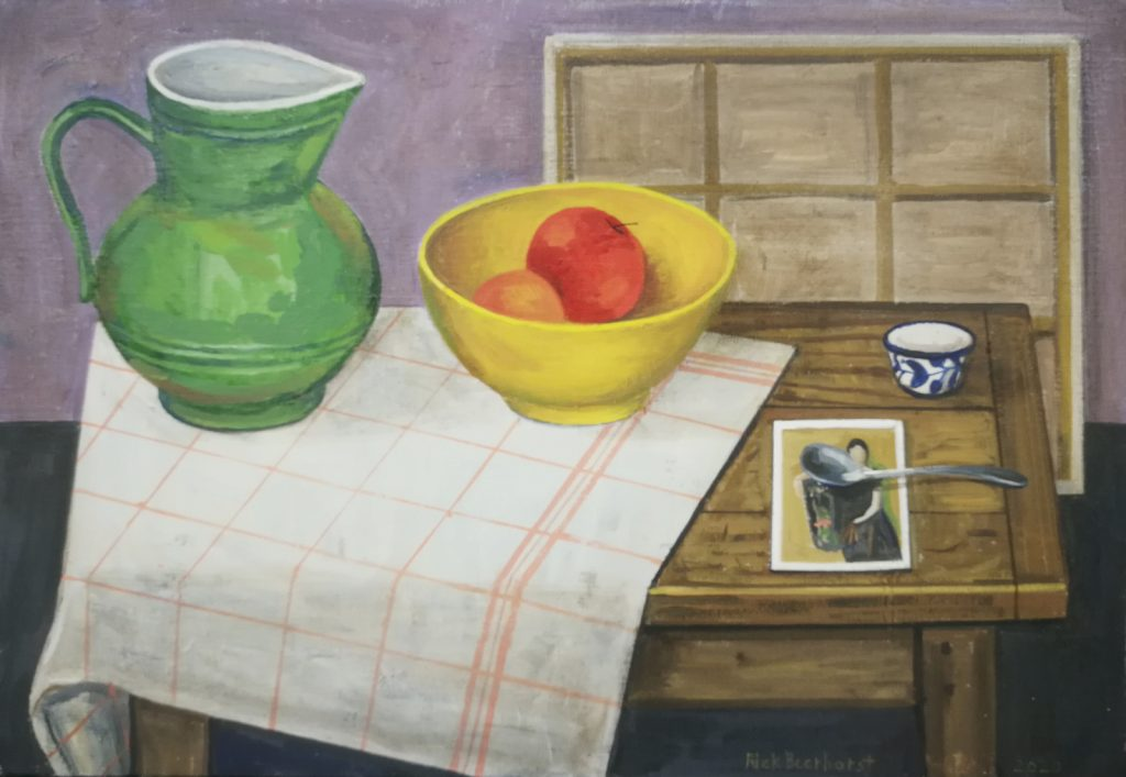 Still Life With Olga And Vessels, 2020, oil on canvas, 48x56 cm