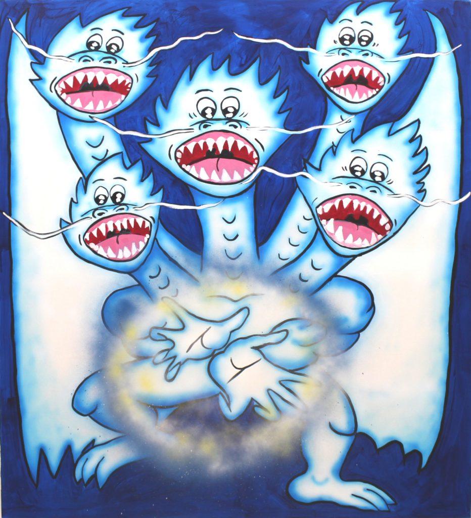 Kamehameha Dragon,2020, acrylic on canvas,150 x 170 cm