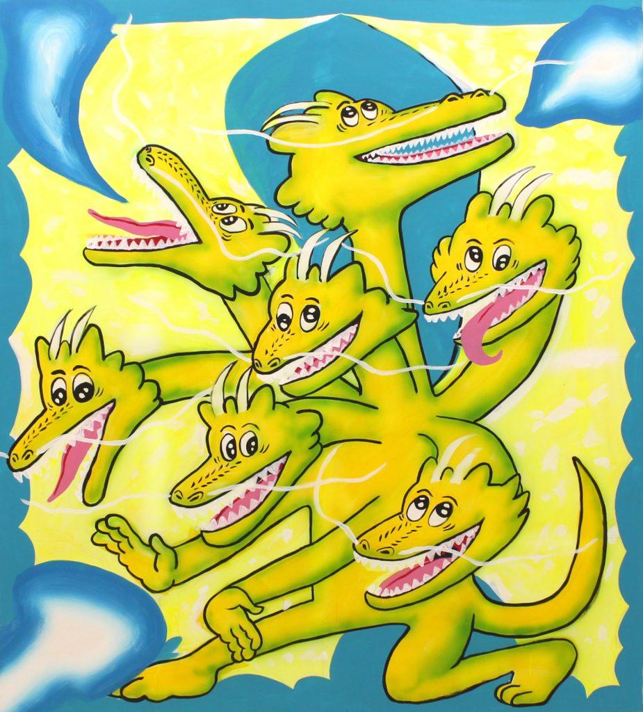 Seven Heads Dragon,2020,acrylic on canvas,150 x 170 cm