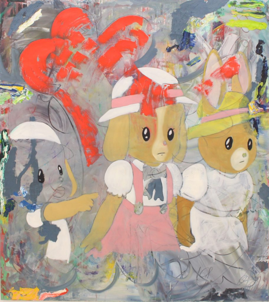 Two Dogs And Rabbit, 2017, oil on canvas, 150 x 170 cm