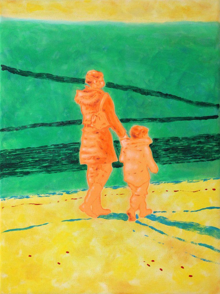 oeuvre xarli zurell deux personnages orange fond vert et jaune