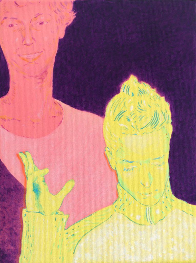 oeuvre xarli zurell homme jaune et rose fond violet
