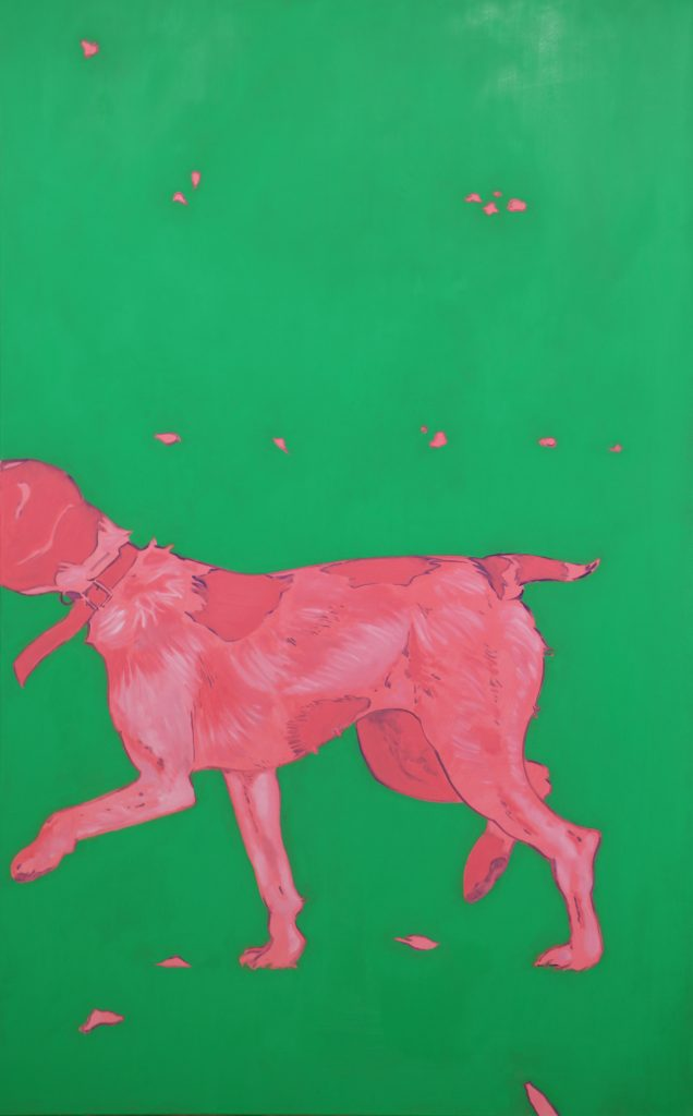 oeuvre xarli chien rose