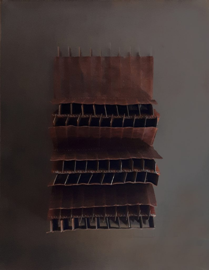 Angélique Chesnesec, <em>Radiateur_2</em>, 2018, acier, cuir, lin, toile plastique, aimants, 52 x 43 x 5 cm