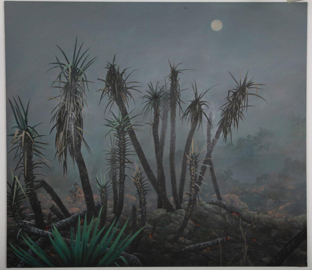 """Alfonso Galván, """"Incendio y Flautista"""", 2019, Huile sur Lin, 200 x 230 cm."""