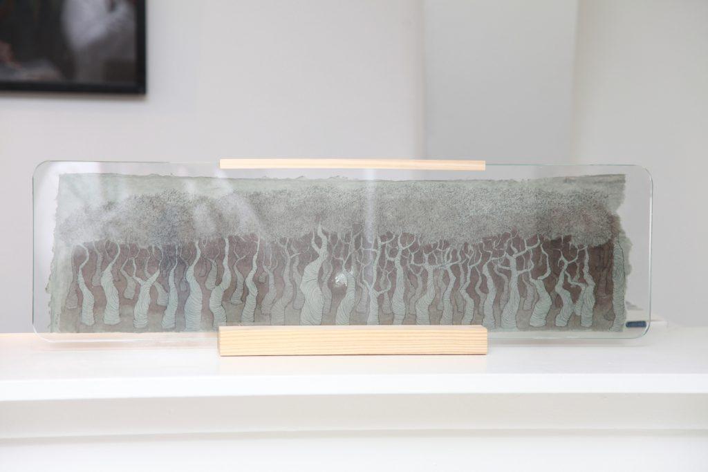 """Mariángeles Atauri, """"Forest In Dark Green"""", 2019, Encre Sur Papier, 70 x 21 x 8 cm."""