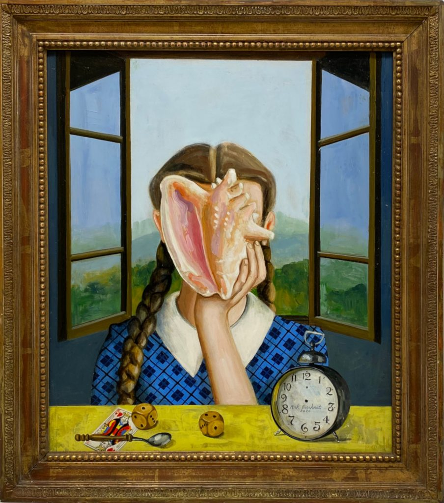 Going Inside To Go Outside, 2020, oil on wood with ancient frame, 65×73 cm