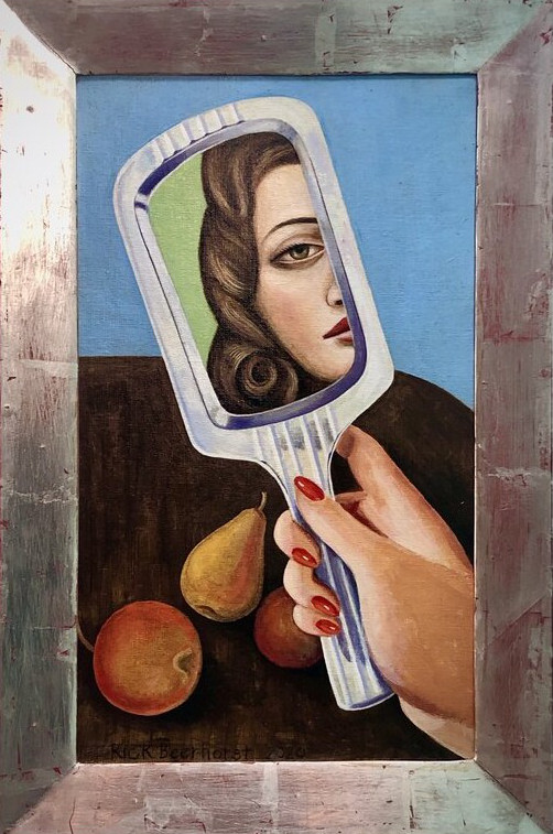 Self Reflexion Right Hand, 2020, oil on canvas with white gold frame, 32x46 cm