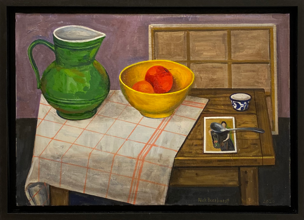Still Life With Olga And Vessels, 2020, oil on canvas, 48×56 cm