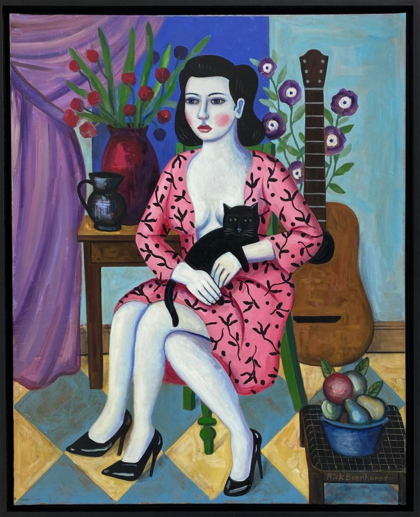 The Bard With Her Cat, 2020, oil on canvas, 80×100 cm