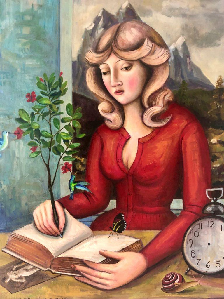 The Mystic Author, 2020, oil on canvas, 100x80 cm