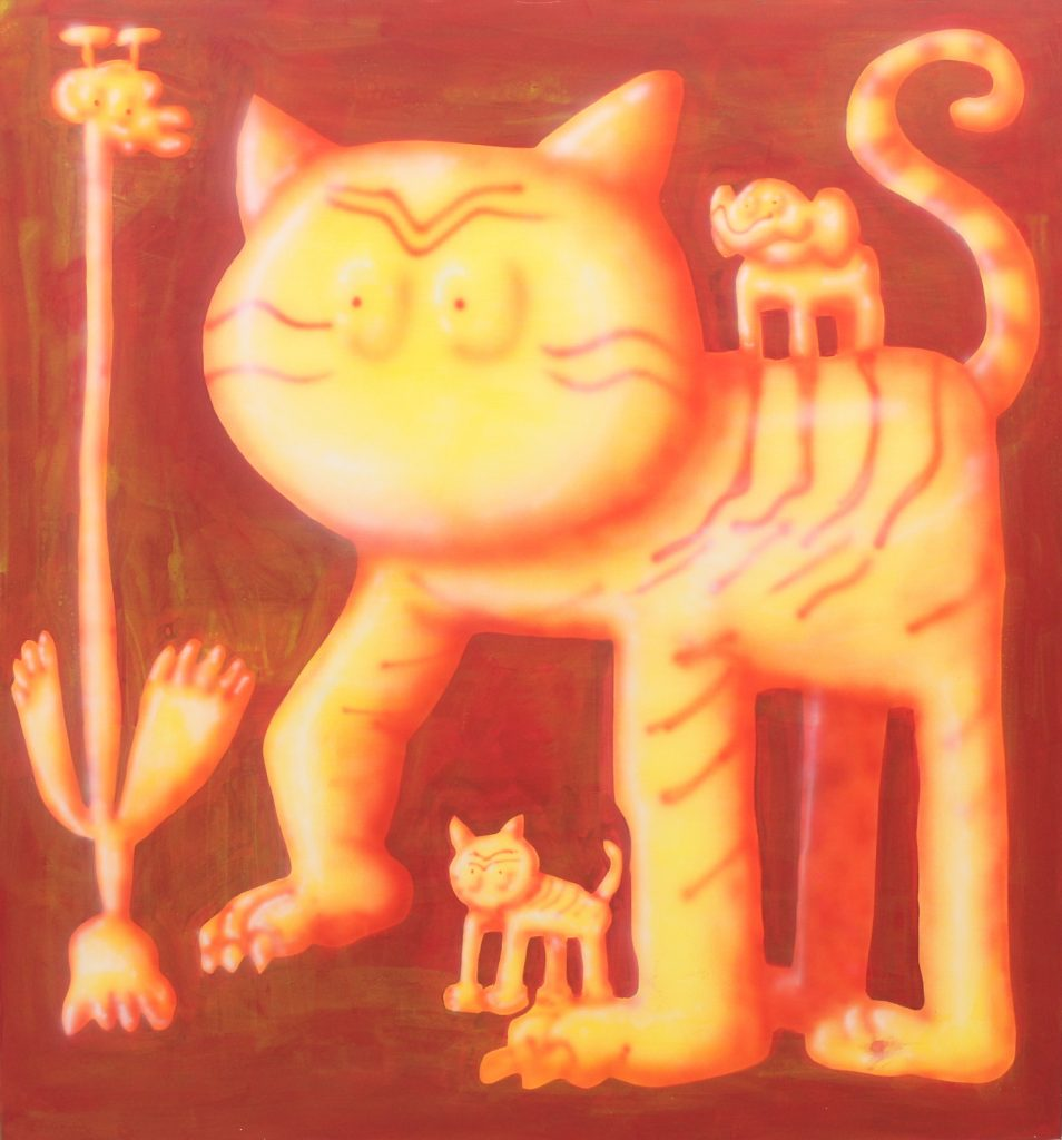 Animals In Orange, 2020, acrylic on canvas, 150 x 150 cm