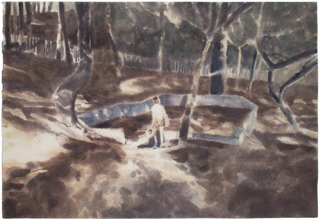 Thomas Lesigne, Lumiere Sur II, 2020, aquarelle sur papier, 41 x 28 cm