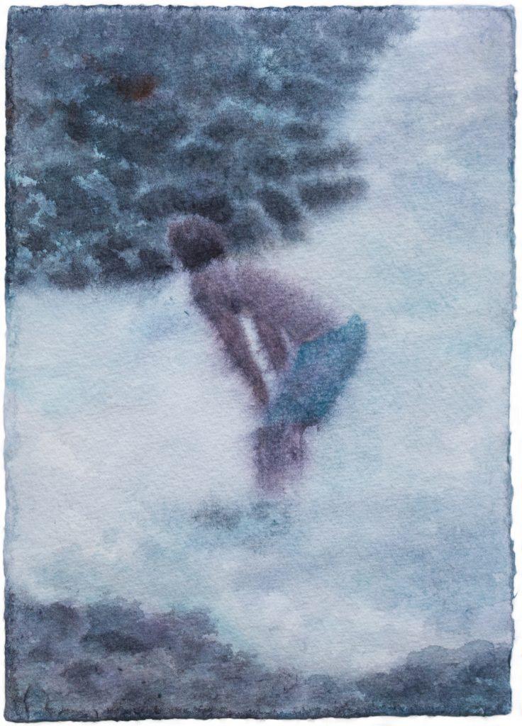 Thomas Lesigne, Moon light path, 2021, aquarelle sur papier, 17 x 23 cm