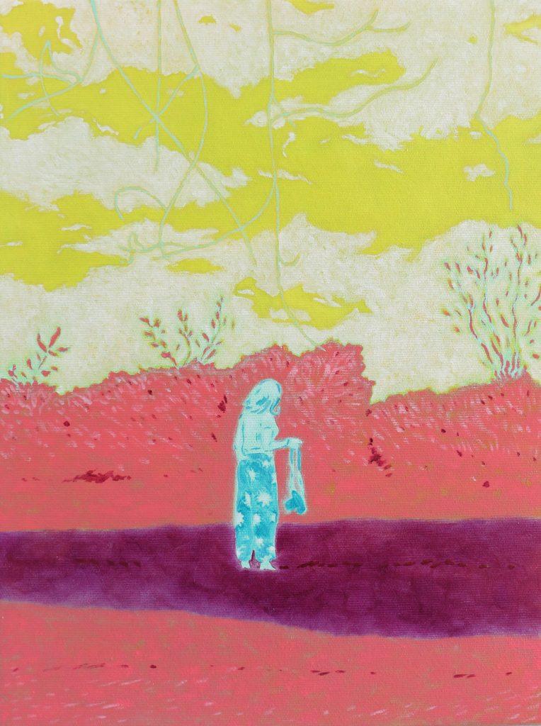 oeuvre xarli femme bleue fond rose
